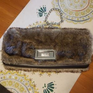 Poppie Jones faux fur clutch